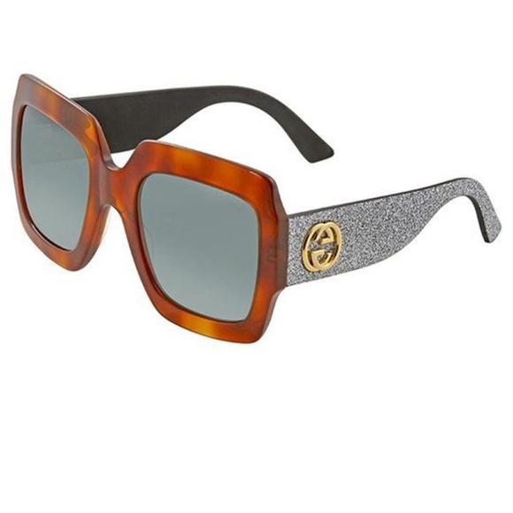 769498d4f2af9 Gucci Sunglasses Silver Glitter Arms Havana